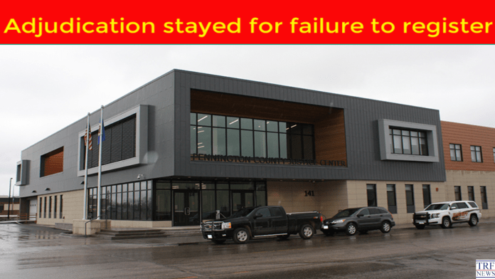 Adjudication stayed for failure to register